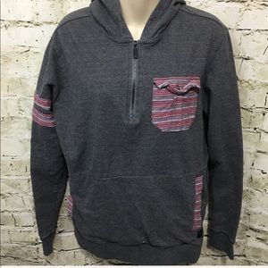 🌻 O'Neill Gray Striped Pocket Hoodie Sweatshirt